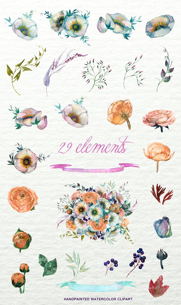 Shabby Floral Bouquet Clipart F-48 in Objects - product preview 3