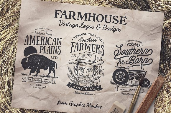 Farmhouse Vintage Badges And Logos Logo Templates