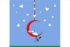 Happy Valentine with mouse and moon