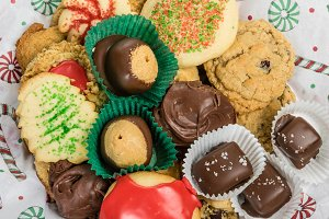 Tray of holiday cookies and candies