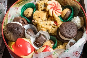 Tin box of cookies and candies