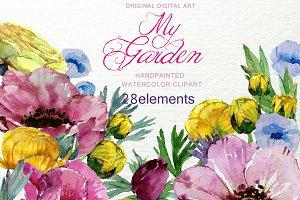 My Garden Watercolor Floral Clip art