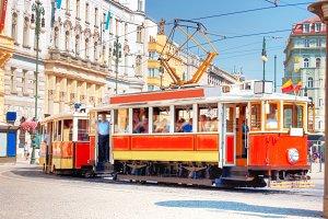 Old red tram in Prague.