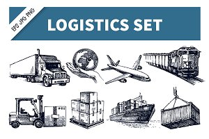 Hand Drawn Logistics & Delivery Set