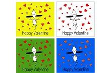 Set of Happy Valentine's backgrounds