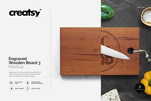 Engraved Wooden Board 3 Mockup