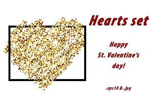 5 golden & silver Valentine's hearts
