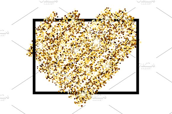 5 golden & silver Valentine's hearts in Illustrations - product preview 5