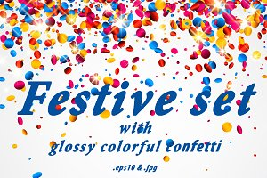 Cards with glossy colorful confetti