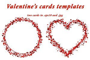 2 Valentine's cards with red hearts