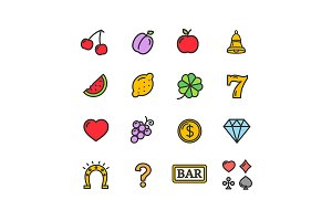 Slot Machine Icons Set.