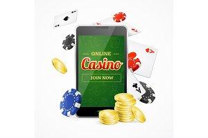Casino Online Mobile Concept.