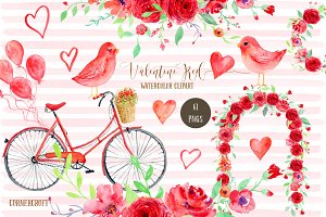 Watercolor Clipart Valentine Red