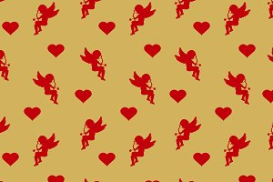 cupid and heart. Wrapping paper