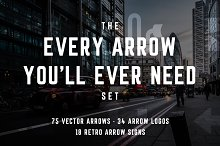 127 Vector Arrow Bundle & Arrow Font