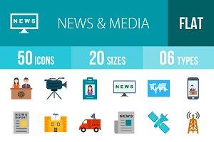 50 News&Media Flat Multicolor Icons
