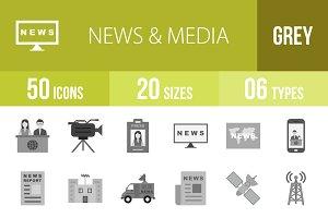 50 News & Media Greyscale Icons