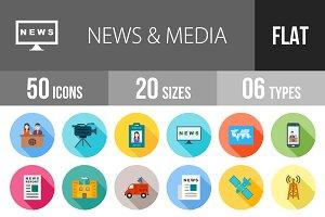 50 News & Media Flat Shadowed Icons