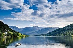 Boat in Norwegian fjords