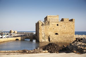 Paphos City, Cyprus - JULY 16, 2015: Paphos medieval fort in the afternoon