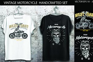 Motorcycle and skull vector set
