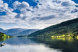 Boat in Norwegian Fjords landscape