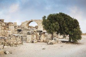 Limassol District, Kourion, Cyprus - July 18, 2015: Antique Ruins Kourion Archaeological Site