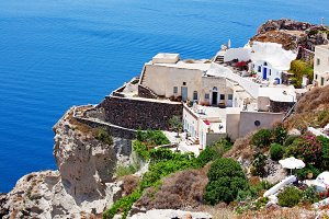 Oia Town, Santorini Island, Greece - June 06, 2011: Greek island village life