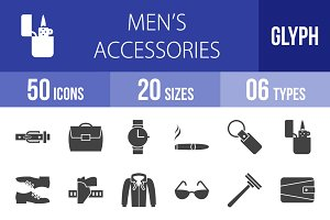 50 Men's Items Glyph Icons
