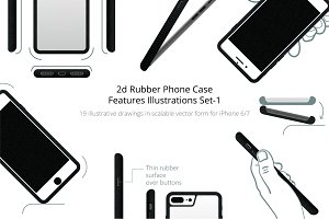 2d Rubber Case Feature Illustrations
