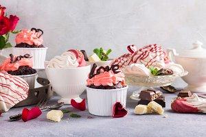 Beautiful chocolate cupecake with meringue