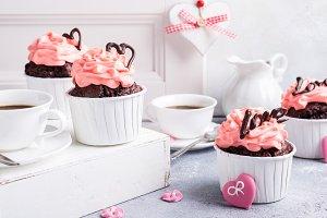 Beautiful chocolate cupecake with heart