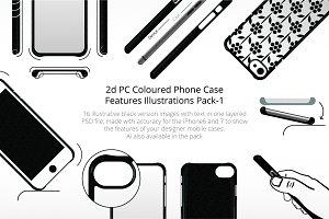 2D PC Phone Case Illustrations Set