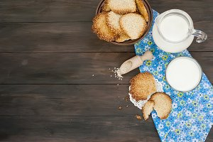 Homemade sesame cookies and milk