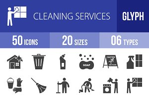 50 Cleaning Glyph Icons