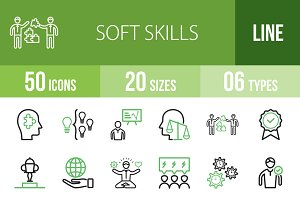 50 Soft Skills Green & Black Icons