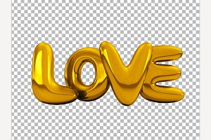 Gold inflatable word love