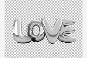 Silver inflatable word love