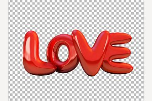 Red inflatable word love