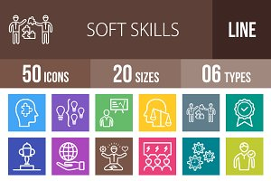 50 Soft Skills Line Multicolor Icons