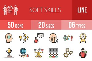 50 Soft Skills Filled Line Icons