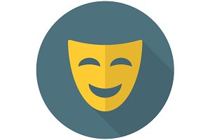 Comedy mask flat icon
