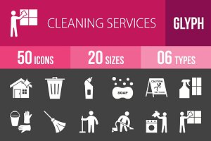50 Cleaning Glyph Inverted Icons