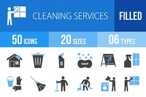 50 Cleaning Blue & Black Icons