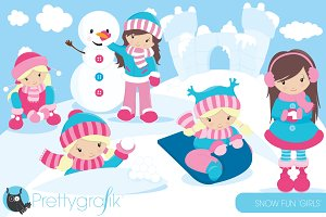 Snow girls clipart commercial use
