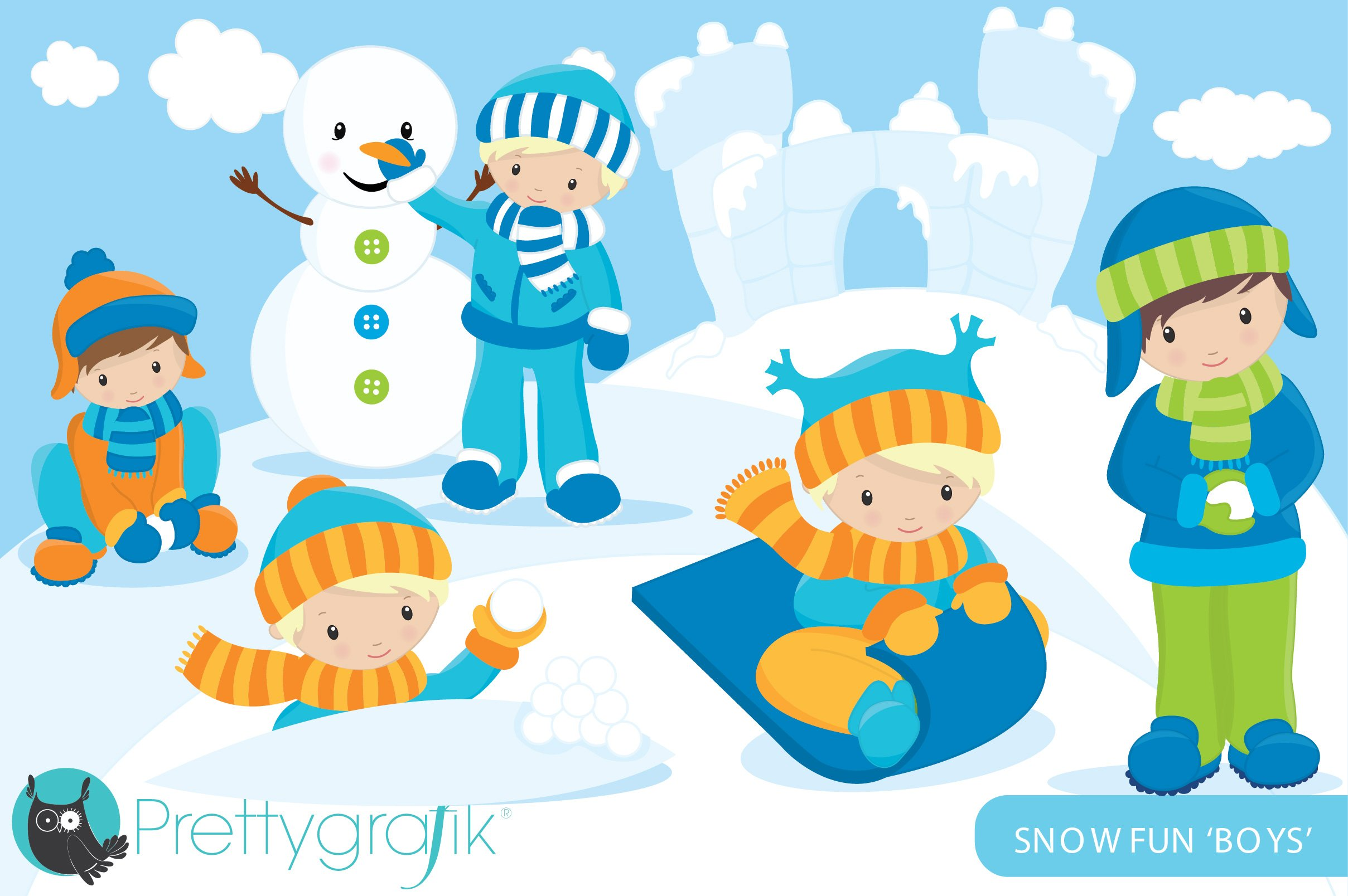 Snow boys clipart commercial ~ Illustrations ~ Creative Market