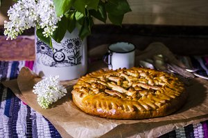 homemade yeast cake with Apple jam