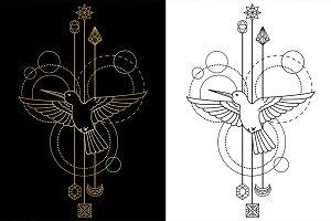 Colibri Tattoo+Seamless Patterns