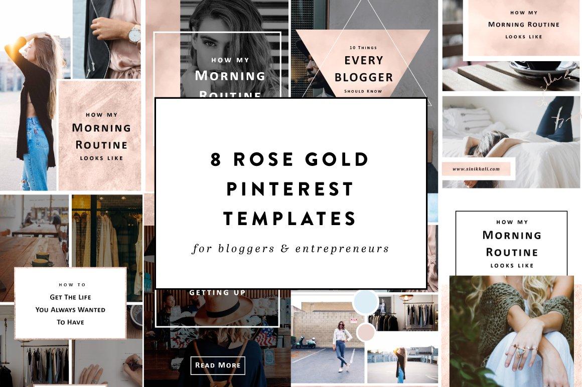 8 rose gold pinterest templates web elements creative market for Pinterest template psd