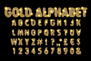 Vector Golden Alphabet Set